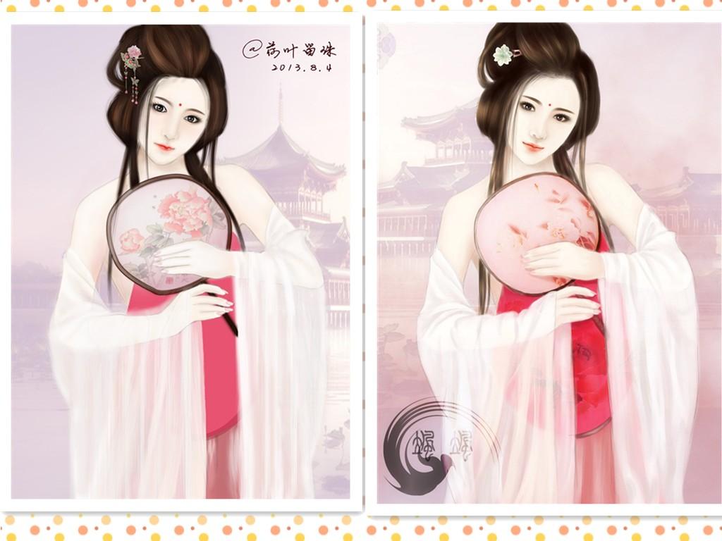 鼠绘――拿扇子的唐朝古典美女