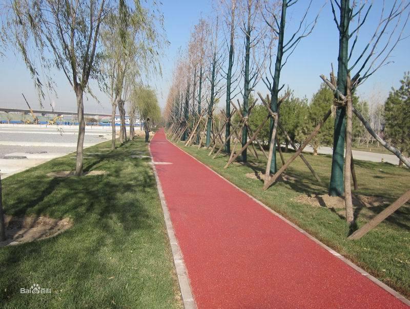 北京园博园 红色彩色透水混凝土 工程业绩 item show 高清图片