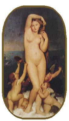 是安格尔1848年的一幅油画,这幅作品和画家的另一幅《泉》有类似之处.图片