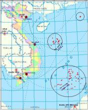 """越南声称属于他们的""""领海""""(黑圈内标记)"""