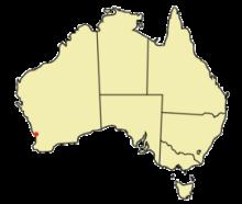 珀斯在澳大利亚的位置(红点所示