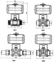 q661焊接球阀尺寸图图片