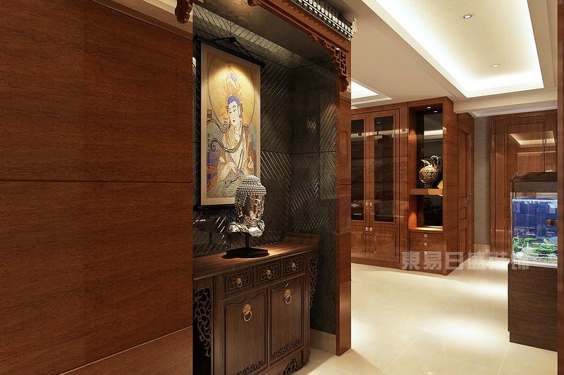 中式入户佛龛 云水世纪明珠中式130平米装修效果图图片