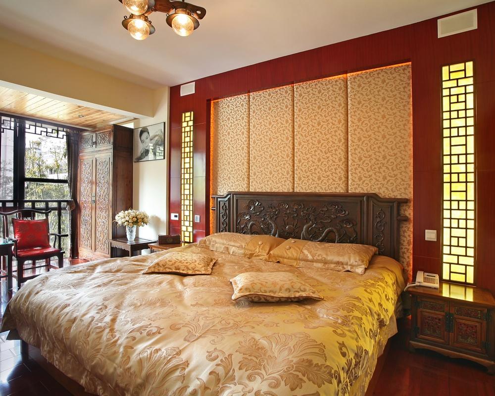 中式风格卧室床头软包背景墙装修效果图欣赏图片