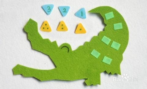 幼儿园数学区自制手工玩教具 点数鳄鱼