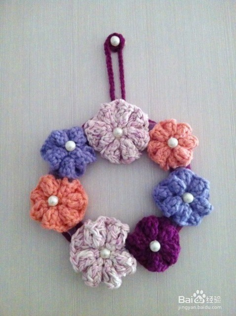 手工制作钩针编织美丽的装饰花圈挂画花环头饰
