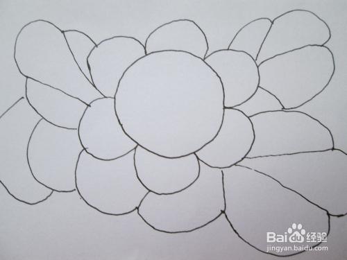 儿童黑白线描画 太阳花 的作画步骤图片