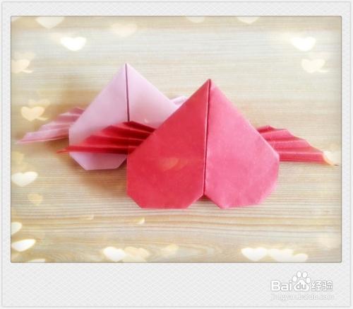 手工折纸带翅膀的爱心的方法图片