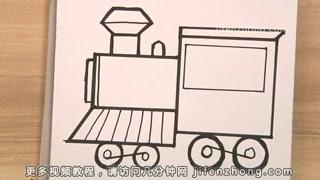 正方形简笔画之画火车头图片