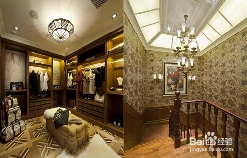 美式楼梯间灯饰设计方案:铜制云石大吊灯装点整个楼梯间,同时楼梯图片