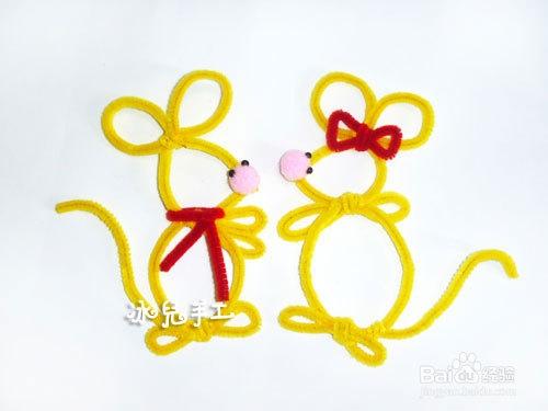 爱在七夕:毛根手工制作情侣小老鼠图片