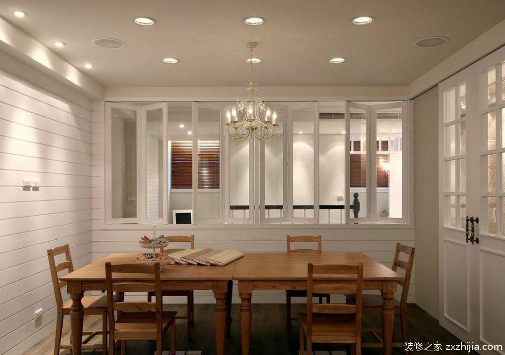 美式风格米色餐厅吊顶装修图_装修之家装修效果图