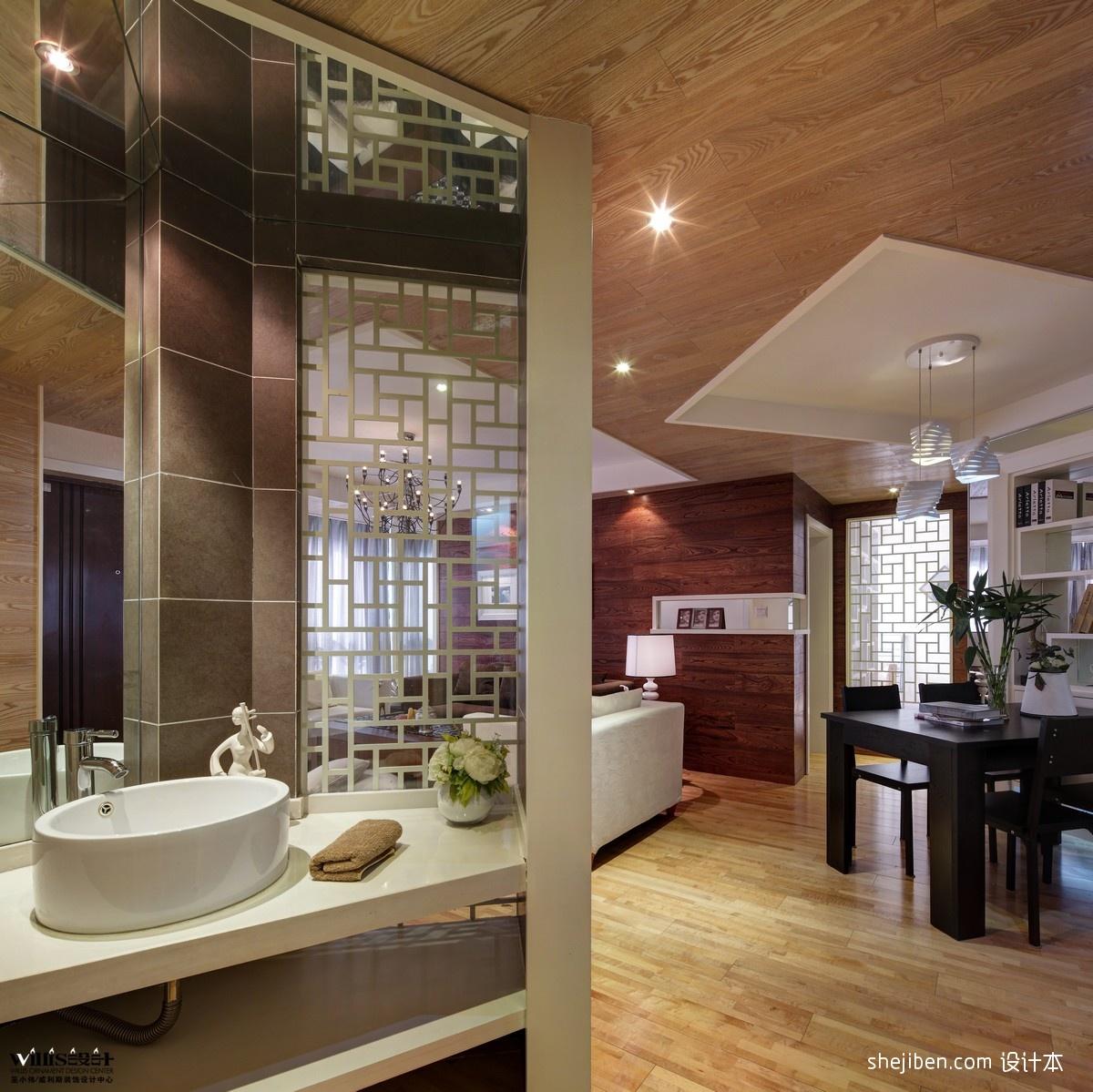 现代风格二室一厅家装卫生间餐厅客厅洗手间一体装修效果图 高清图片