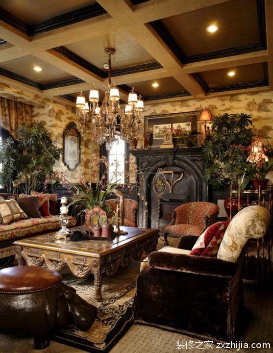 美式风格客厅吊灯背景墙设计效果图_装修之家装修效果图图片