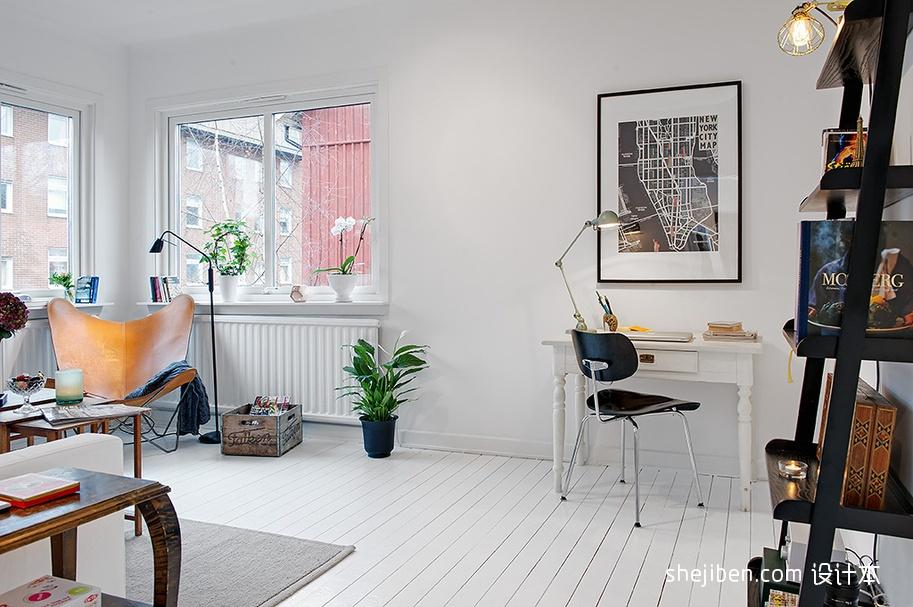 现代风格小户型家装临窗书房书架椅子书桌装饰画装修效果图 高清图片