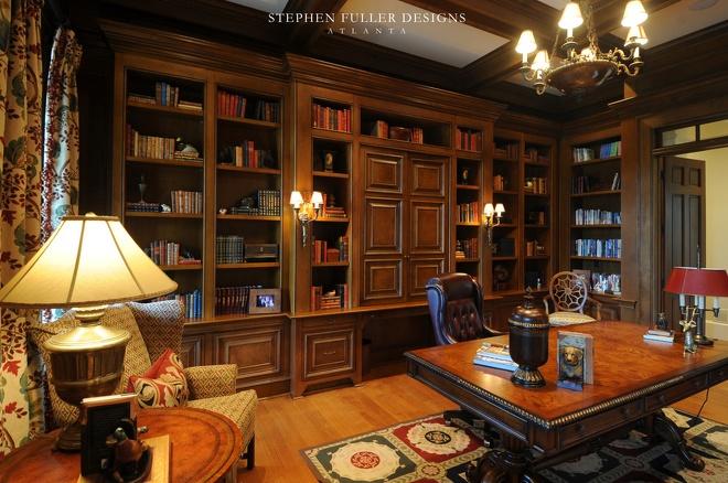 美式风格三室一厅最新书房吊顶书柜椅子书桌家具装修效果图 高清图片