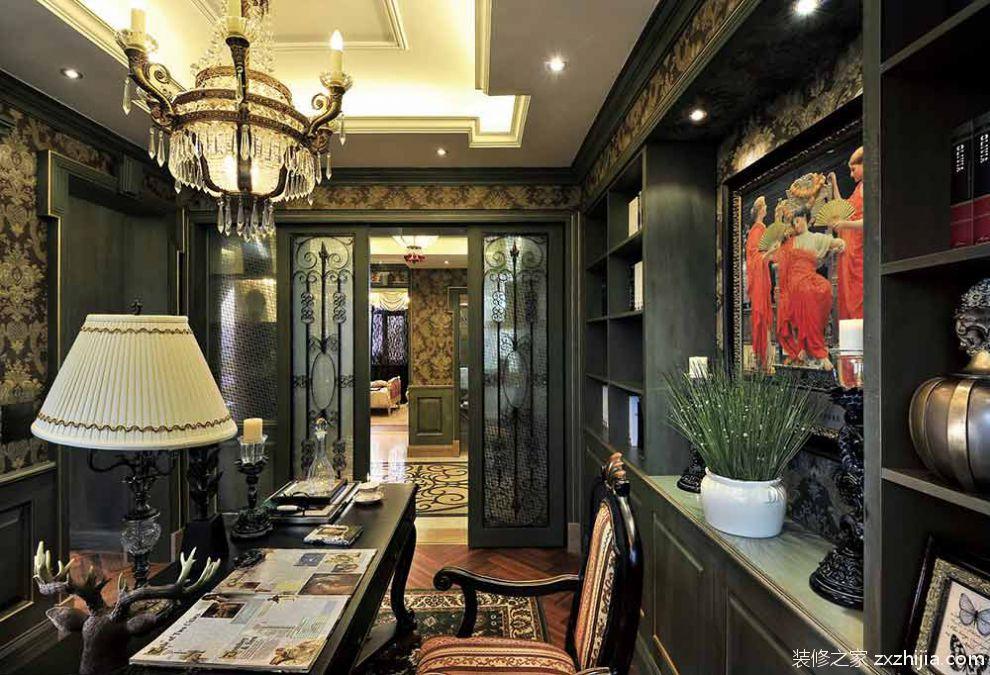 白色典雅中式书房效果图设计_装修之家装修效果图图片