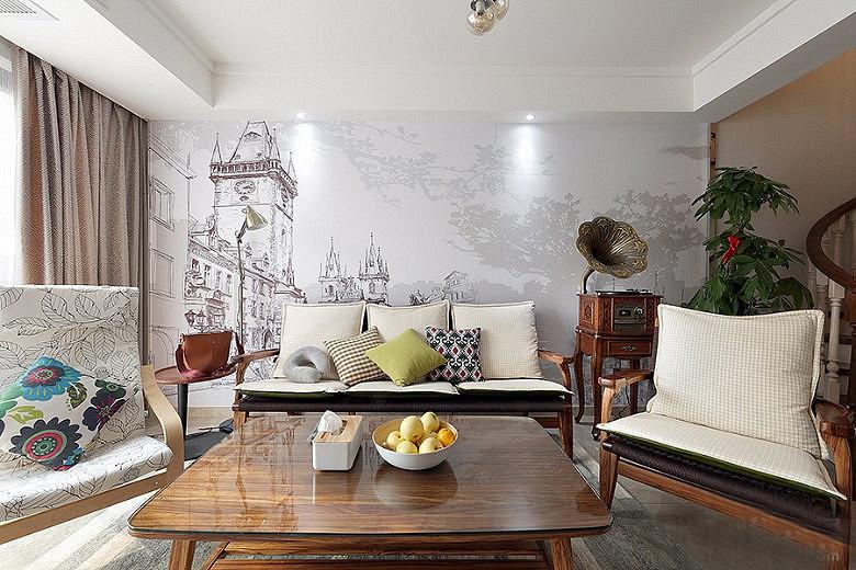120平北欧风格装修复式美家 亮丽精致有品位图片