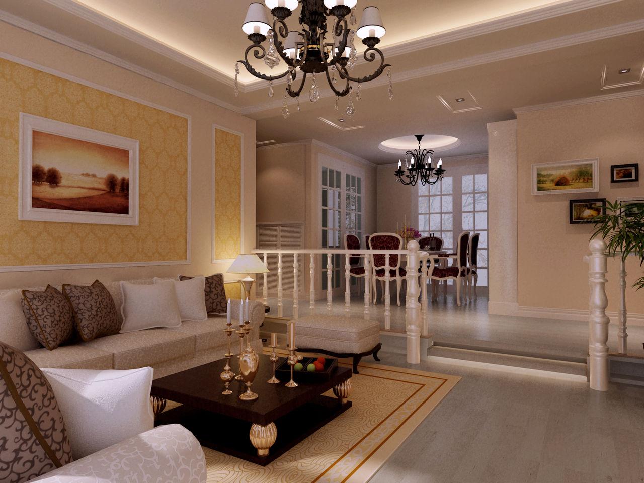 欧式古典客厅吊顶效果图_装修之家装修效果图图片