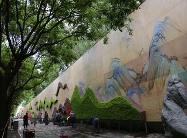 220米花墙现身街头山水画作结合