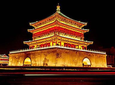 西安钟鼓楼为确保文物安全关闭本体照明设施