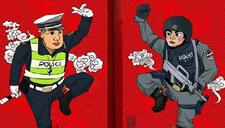"""上海警察版""""门神""""走红 网友戏称或能防盗"""