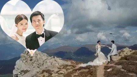 文咏珊悬崖边拍婚纱照