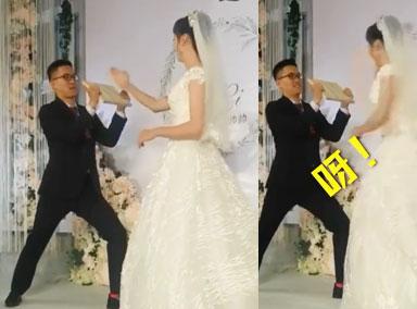 新娘婚礼上一声大吼劈断木板