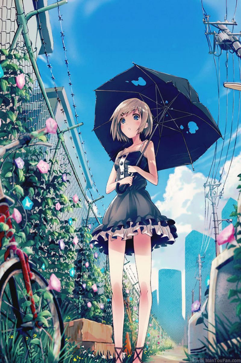 打着一把伞的动漫图片