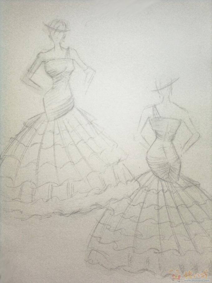 计图手稿素描 简易婚纱手稿素描图 戒指设计 素描图图片