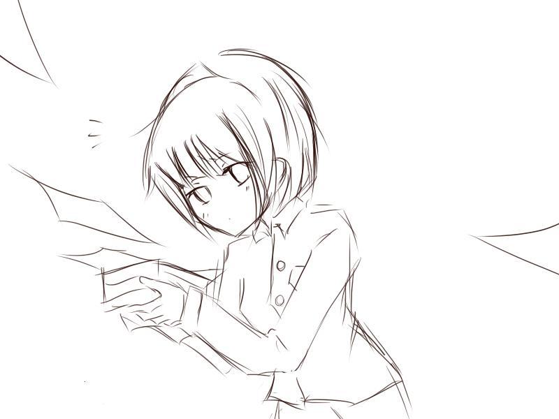 呆萌小女孩的铅笔画图片