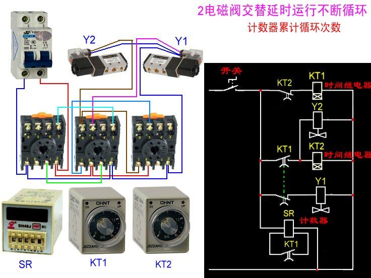 继电器控制两个气缸循环动作,并用计数器计数循环次数,请问如何接线图片