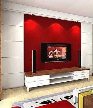 客厅电视墙比较小,洗手间门处于电视墙墙面上,想做成隐形门高清图片