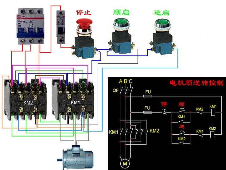 电动机正反转控制图片大全 两个接触器的电动机正反转控制图片