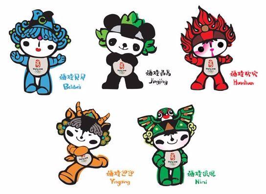 奥运吉祥物福娃:形象为鱼,熊猫,奥运圣火,藏羚羊,燕子,名字是贝贝图片