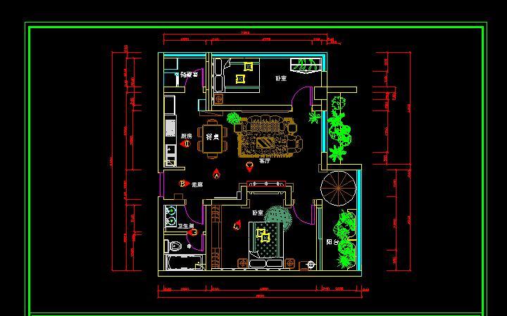 两室一厅cad平面图