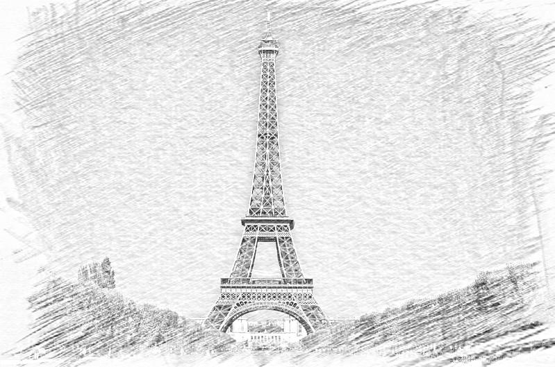 埃菲尔铁塔素描图片_创意家居储物收纳盒子铅笔画素描大号复古铁