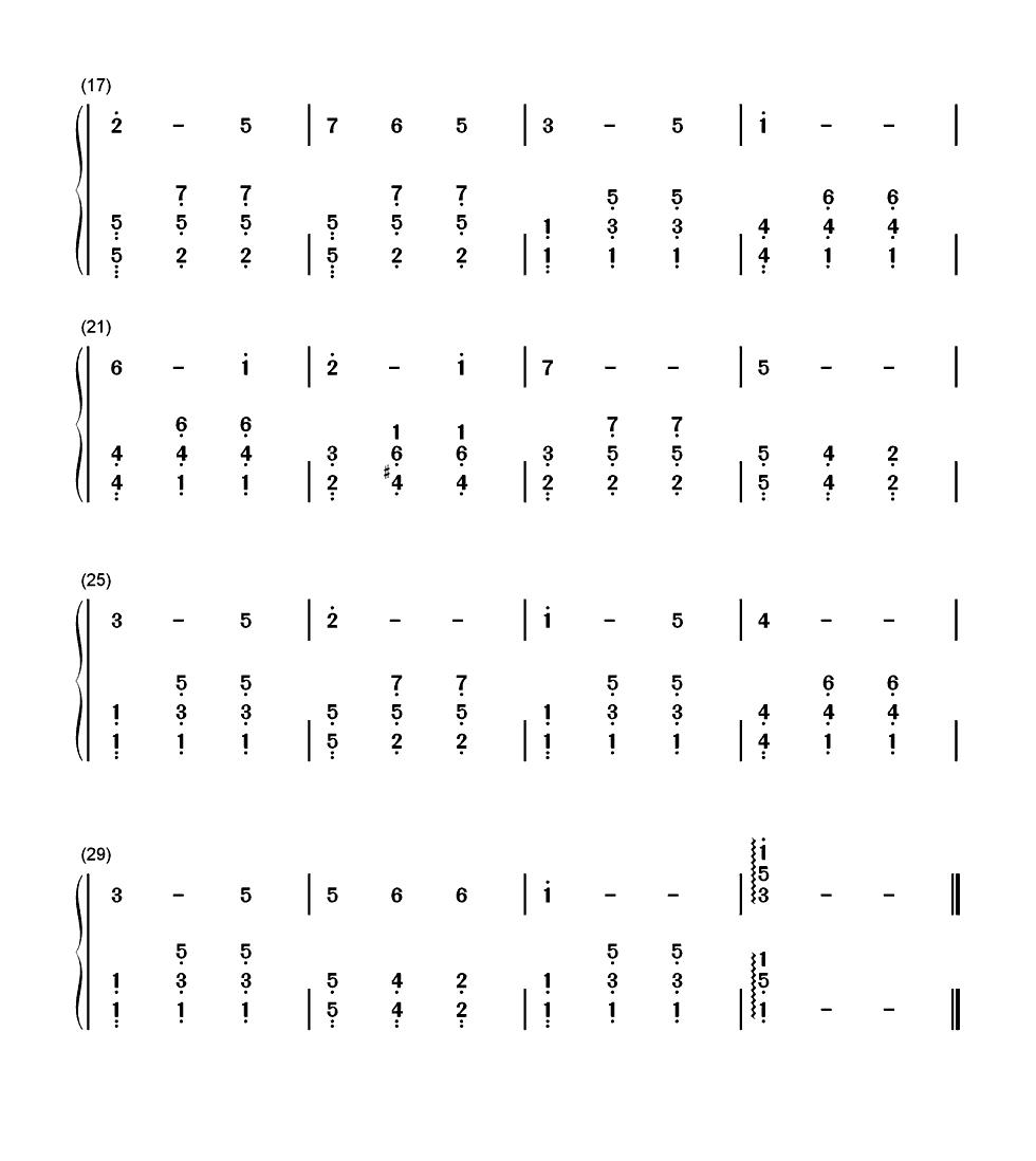 雪绒花简谱左手和弦图片