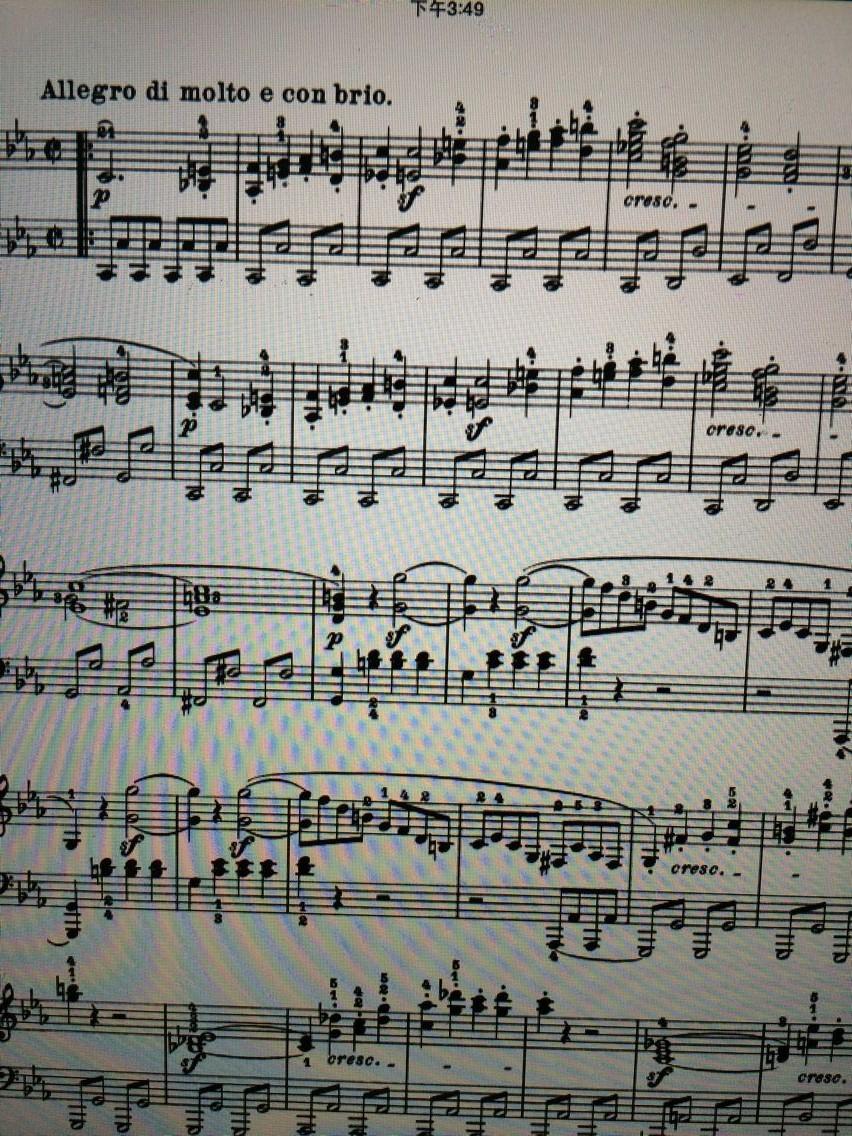 贝多芬悲怆钢琴奏鸣曲第一乐章谱子疑问图片