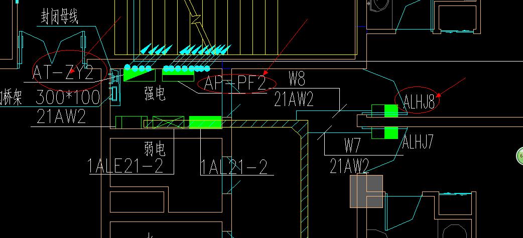 您好:这个是建筑电施图,用椭圆红色圈的符号各表示什么?