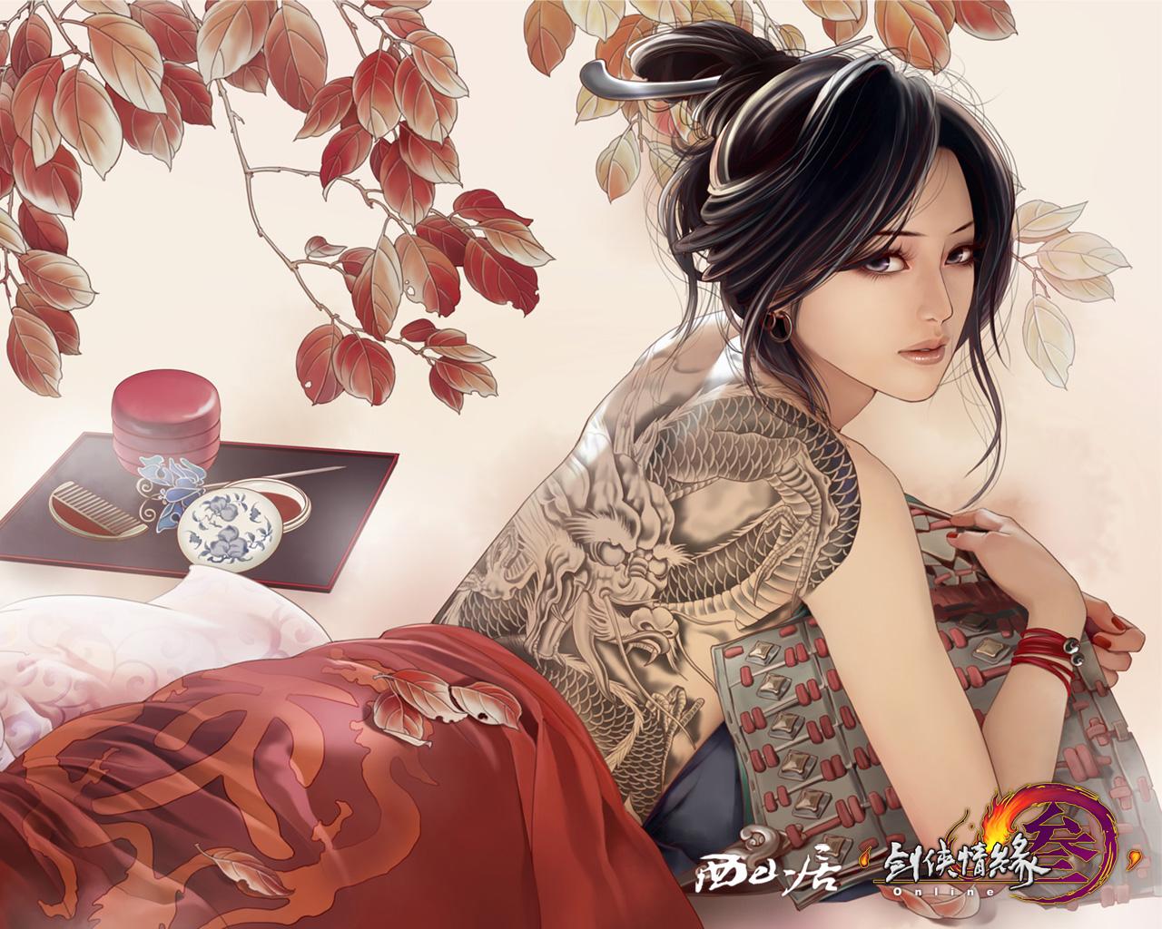 手绘古装美女图手绘古装妖娆女子古装手绘妖艳美女