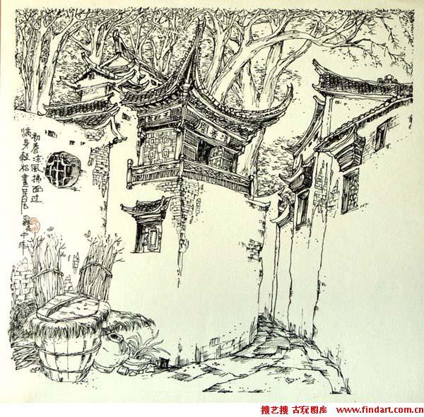 云南丽江风景的速写作品图片