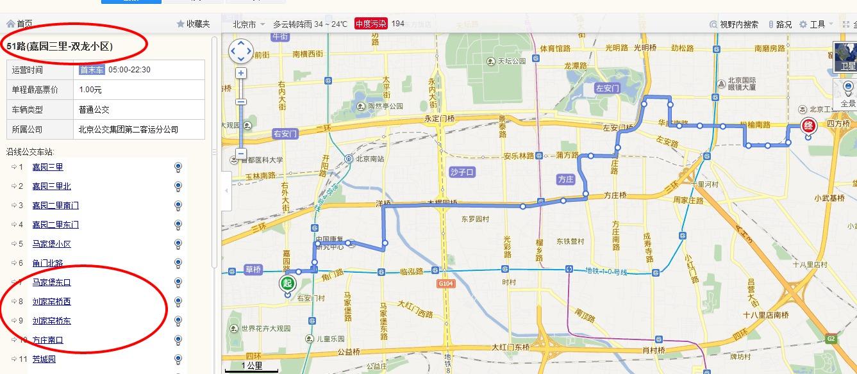 北京地铁亦庄线同济南路转51路公交车途径站名图片