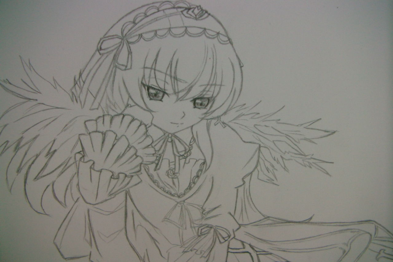 跪求蔷薇少女里的水银灯素描图