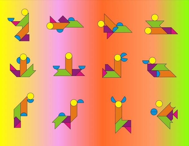 和我玩的不一样啊,我玩的只有三角形,平行四边形,正方形.图片