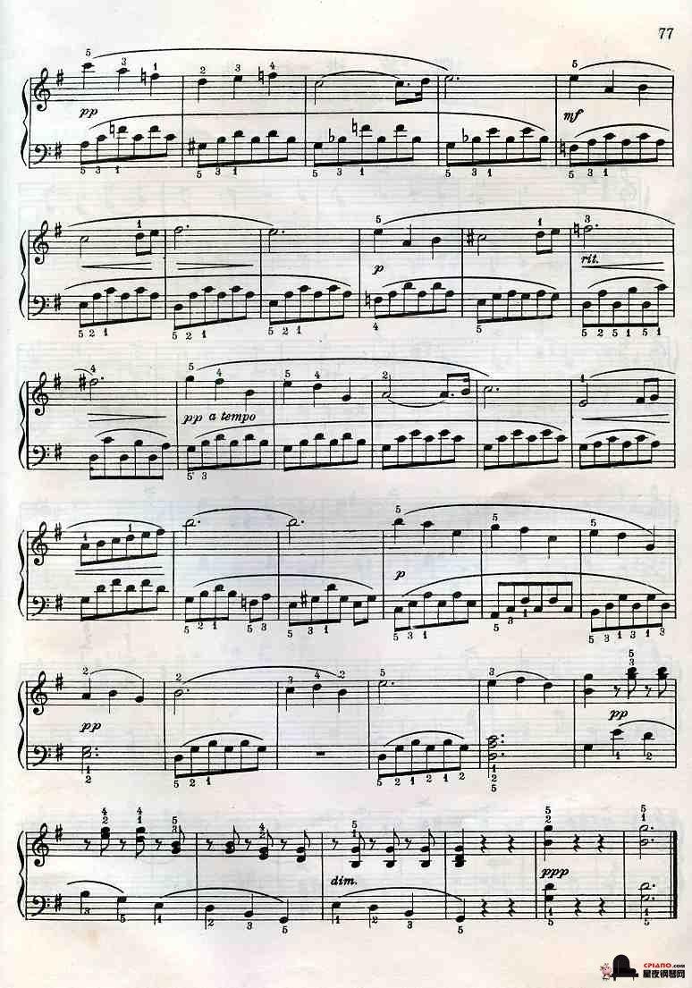 钢琴曲《天鹅》拜厄图片