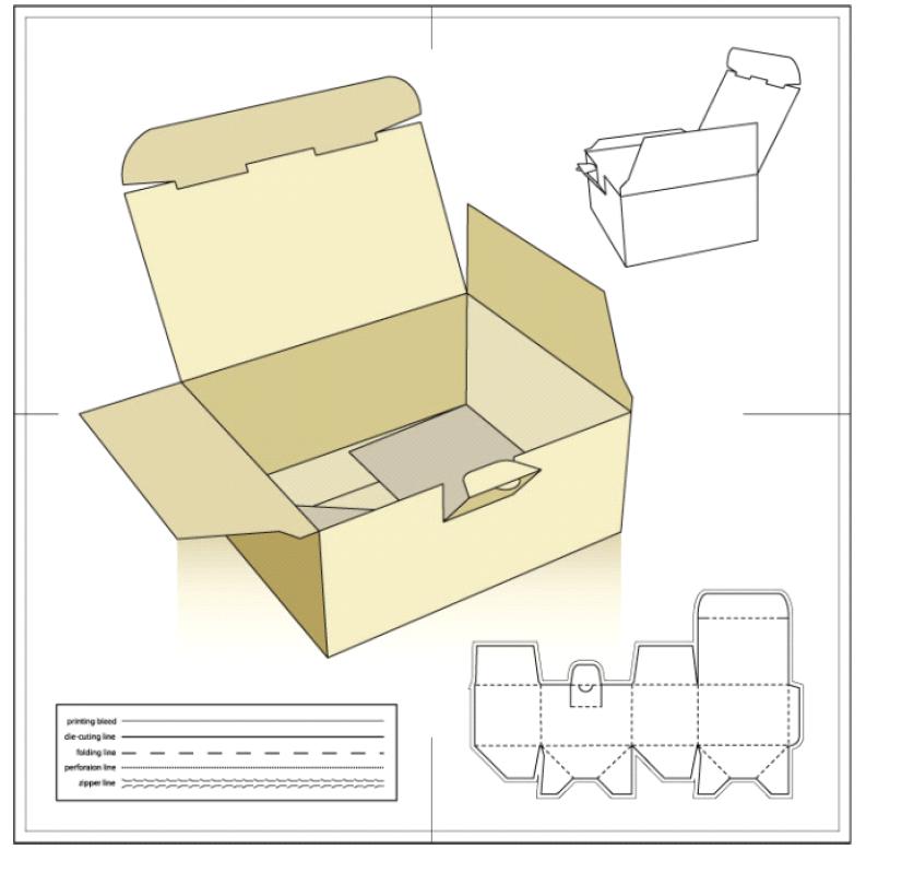 封闭式纸盒展开图-纸盒包装展开图-天地盖纸盒展开图-创意纸盒包装图片