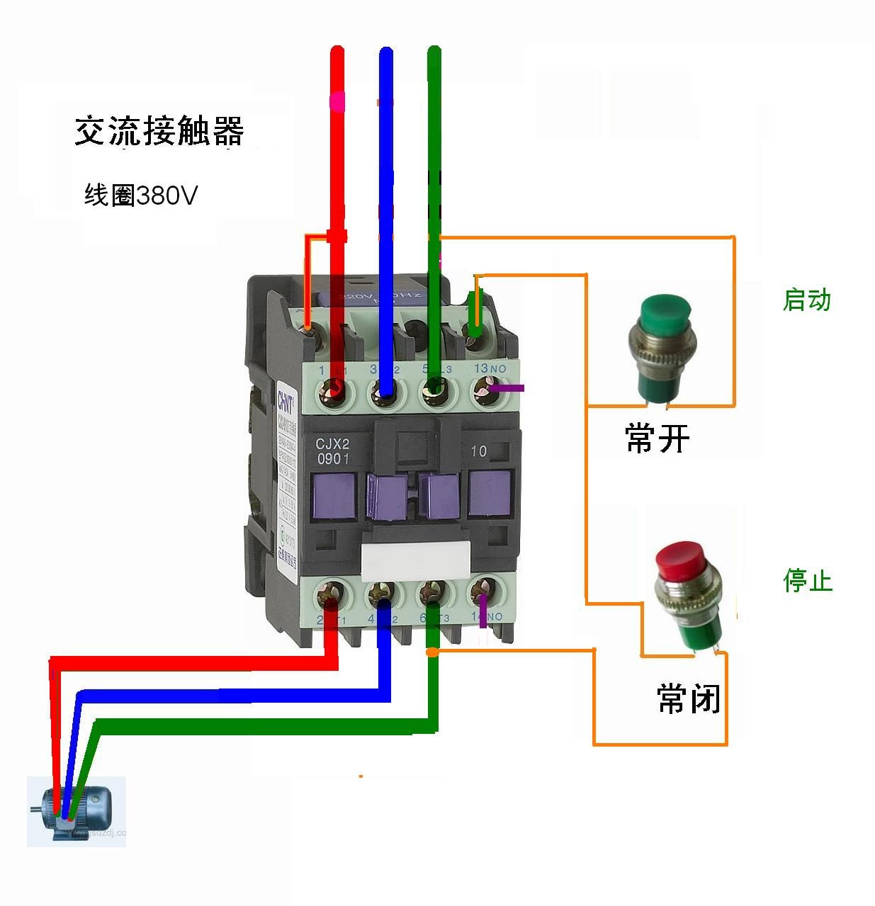 380v交流接触器接线图