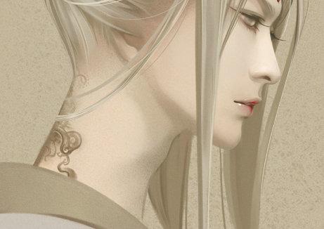古装手绘白衣美男 手绘古装白衣妖孽美男 古装手绘白衣白发美男图片