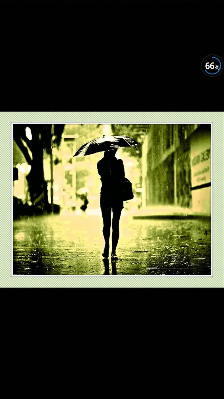 女生雨中打伞背影图片